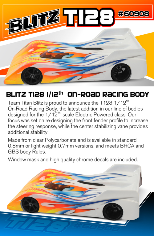 BLITZ T128 1/12th On-Road Racing Body